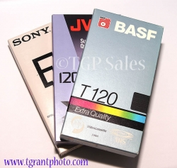 3 pk. used T-120 VHS tapes for recording