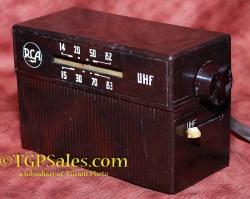RCA 208 E1 UHF to VHF tube-type convertor, bakelite box circa 1958